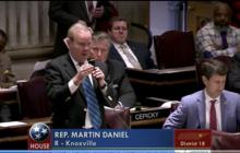 Rep Martin Daniel, owner of Elevation Outdoor, speaking in favor of HB2255